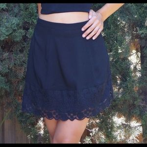 Black Skirt with Lace Detail at Bottom